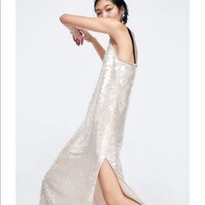 9928ec5876e Women s White Zara Sequin Dress on Poshmark